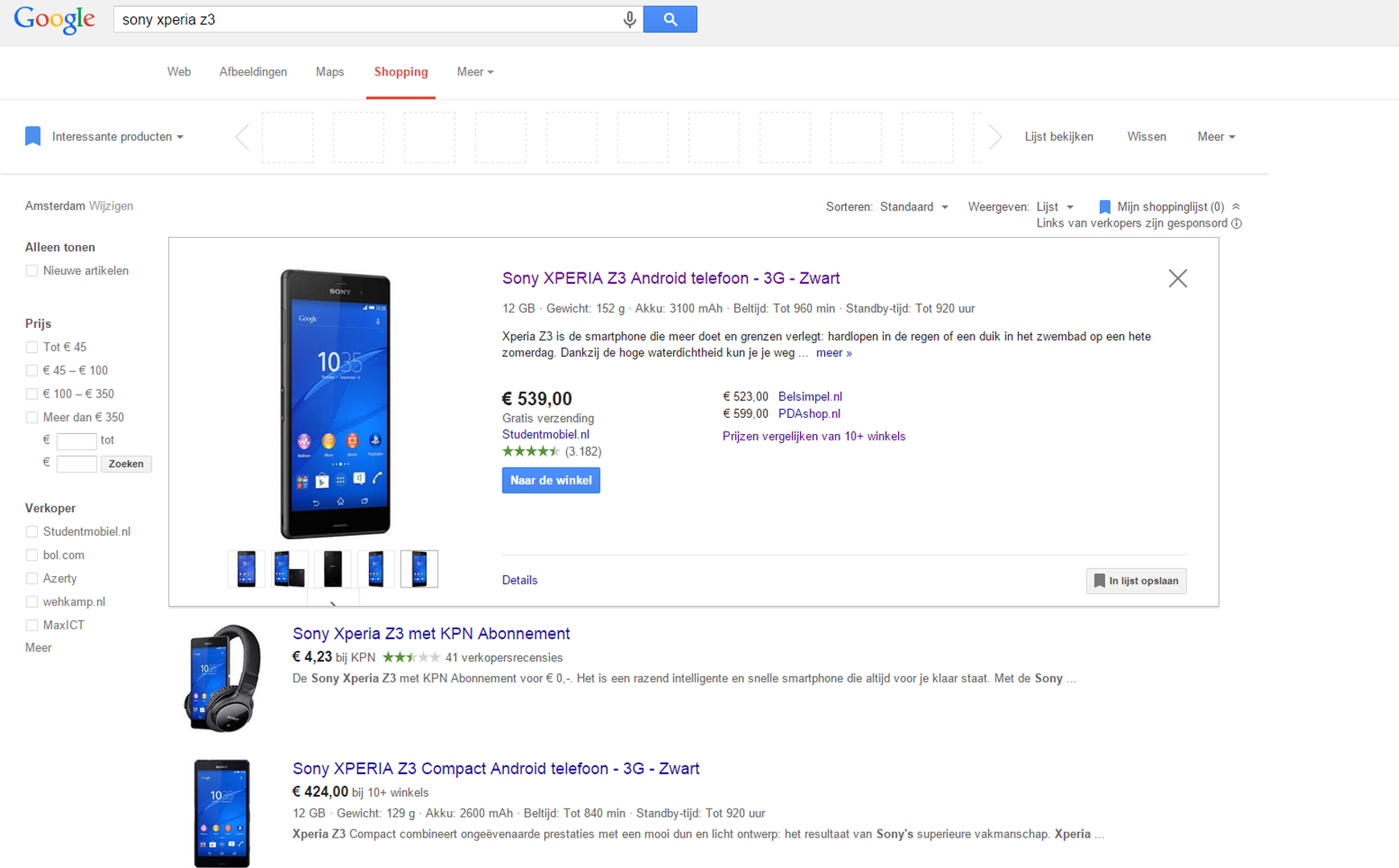 google shopping mobiel
