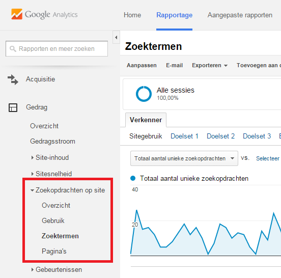 Google Analytics rapport site search