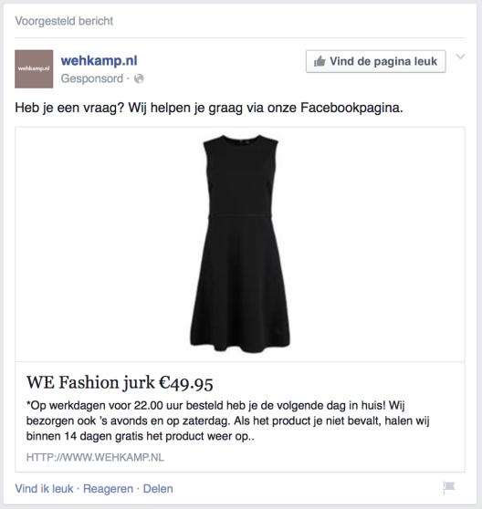 Wehkamp Facebook content