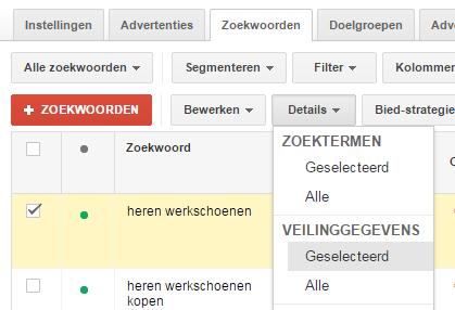 Adwords veilinggegevens