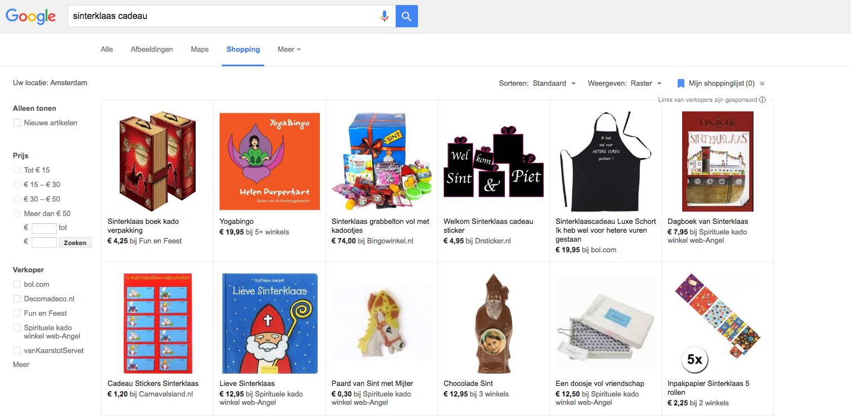 Google Shopping tijdens Sinterklaas