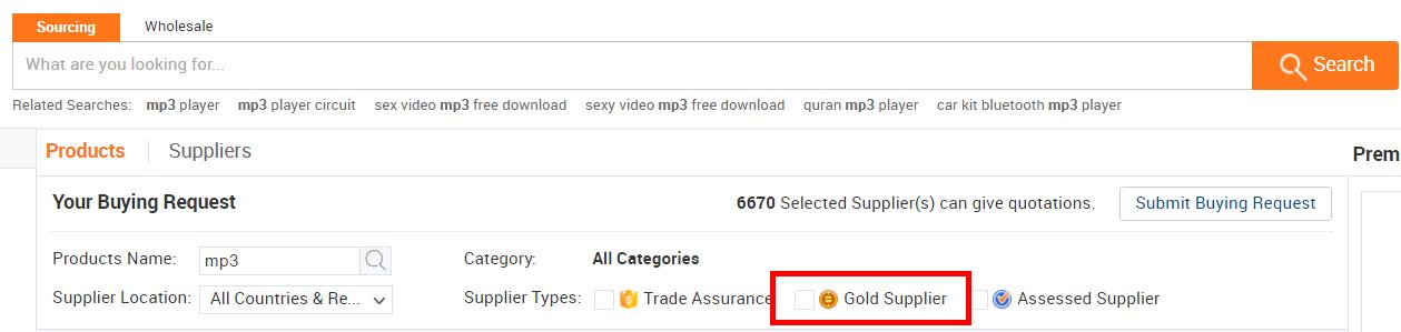 Gold supplier Alibaba
