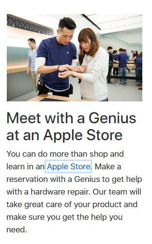 Voorbeeld van Apple Genius Bar
