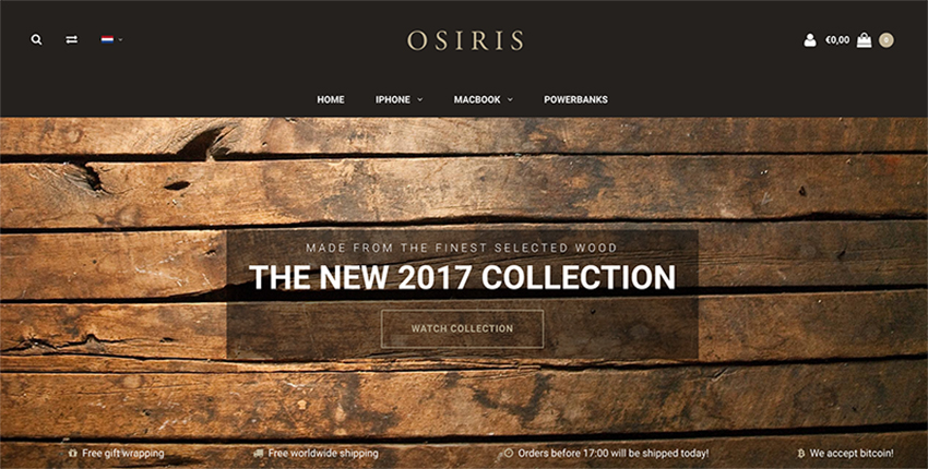 One-page Layout van Osiris, een Lightspeed eCommerce klant