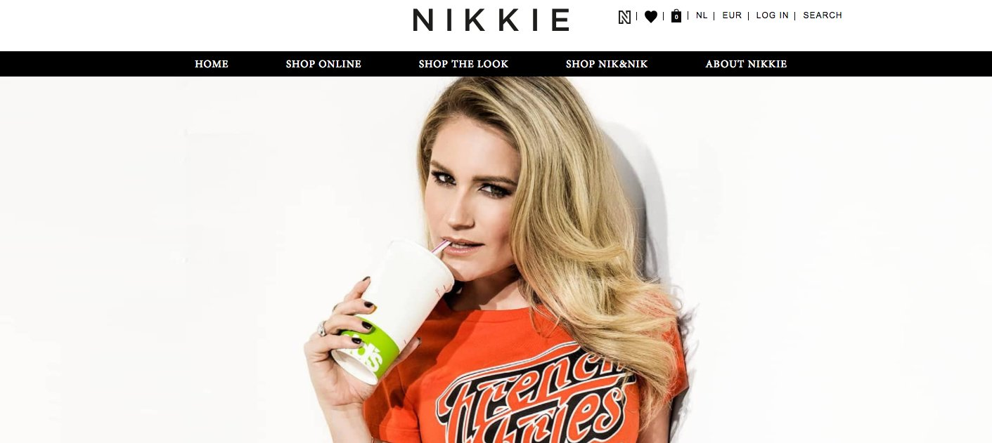 De landingspagina van fashion webshop NIKKI