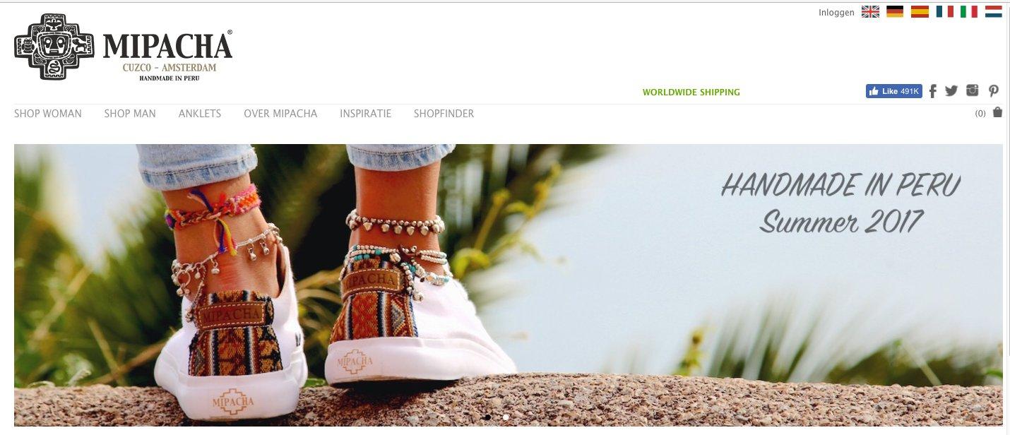 Landingspagina van fashion webshop MIPACHA
