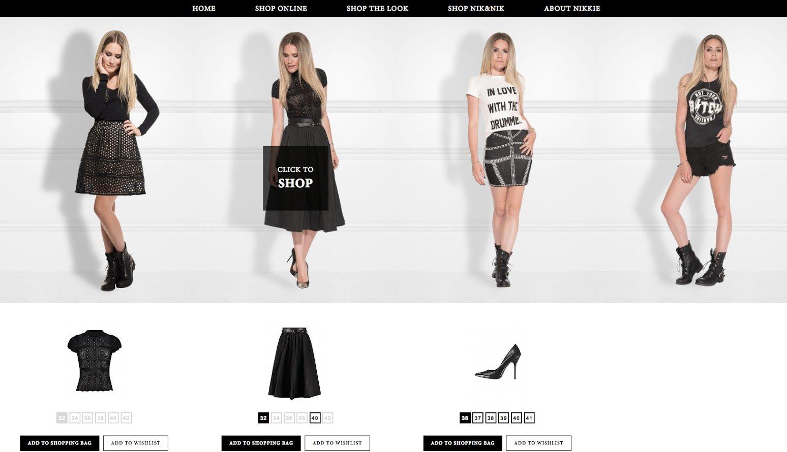 De lookbook pagina van fashion webshop NIKKIE