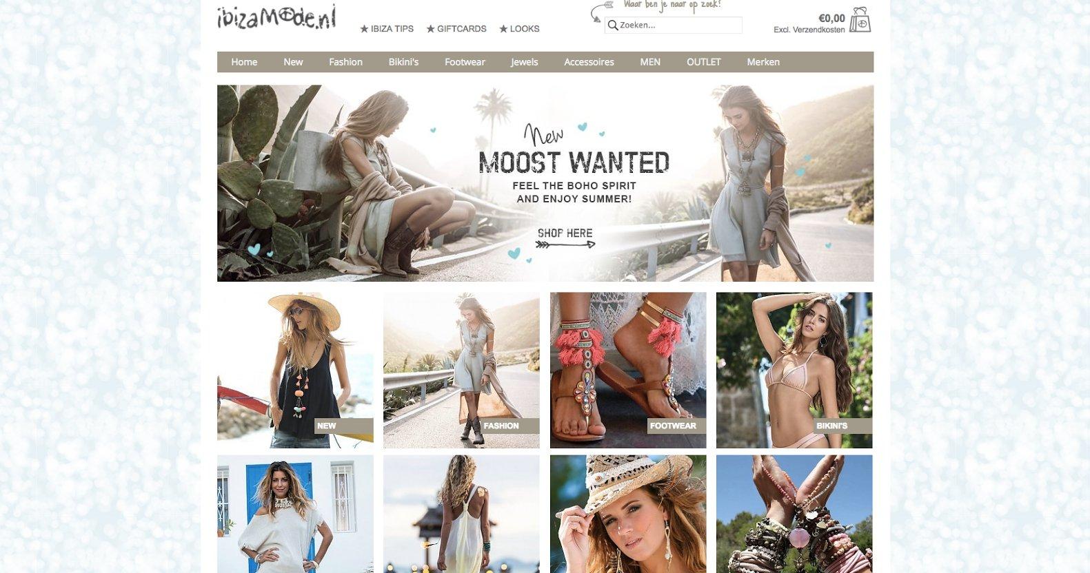 Landingspagina van fashion webshop Ibiza Mode