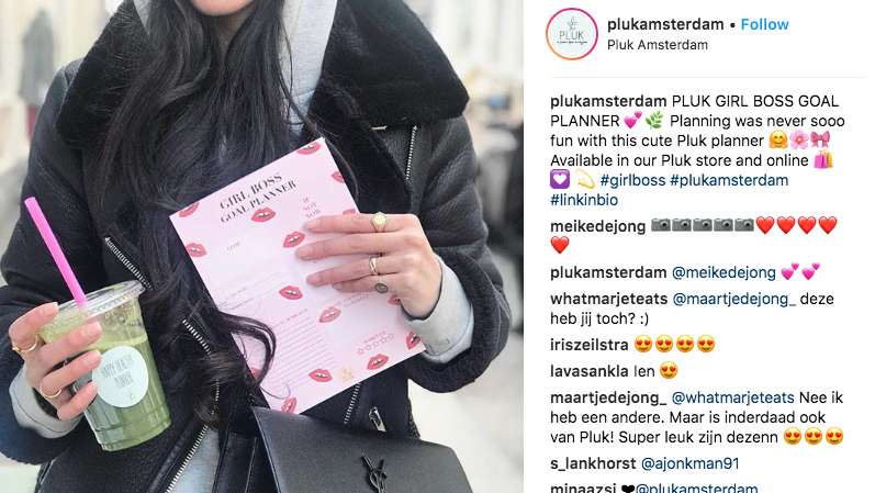 Screen shot van Instagram post Pluk Amsterdam met een planner